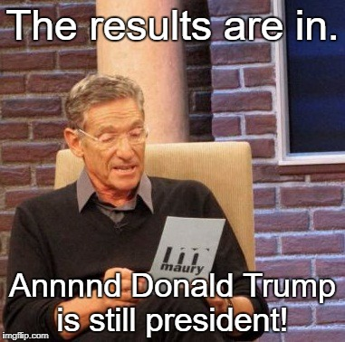 Maury Lie Detector Meme | The results are in. Annnnd Donald Trump is still president! | image tagged in memes,maury lie detector,donald trump | made w/ Imgflip meme maker