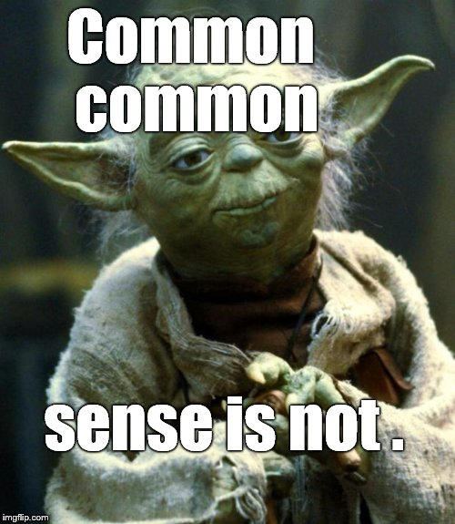 Once again, Yoda is correct, even if syntax challenged he is. | Common common sense is not . | image tagged in memes,star wars yoda,syntax,common sense,common common sense is not | made w/ Imgflip meme maker