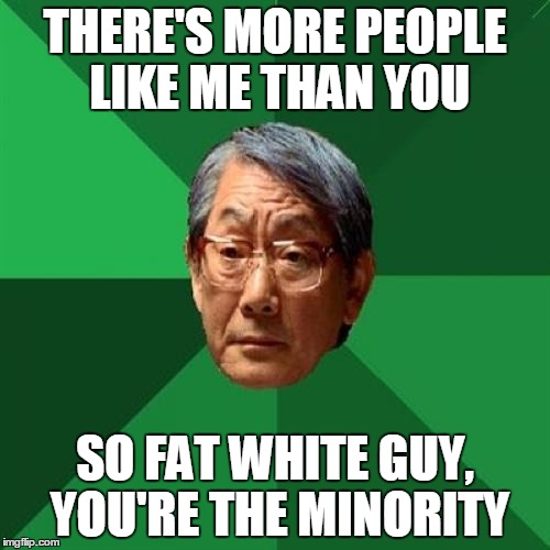 High Expectations Asian Father Meme | THERE'S MORE PEOPLE LIKE ME THAN YOU SO FAT WHITE GUY, YOU'RE THE MINORITY | image tagged in memes,high expectations asian father | made w/ Imgflip meme maker