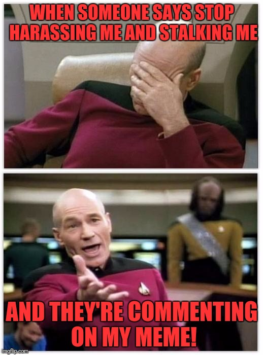 A true Picard wtf moment. | WHEN SOMEONE SAYS STOP HARASSING ME AND STALKING ME AND THEY'RE COMMENTING ON MY MEME! | image tagged in picard frustrated,picard wtf,picard wtf and facepalm combined,captain picard facepalm | made w/ Imgflip meme maker