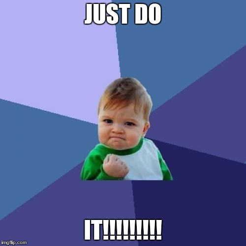 Success Kid Meme | JUST DO IT!!!!!!!!! | image tagged in memes,success kid | made w/ Imgflip meme maker