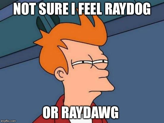 Futurama Fry Meme | NOT SURE I FEEL RAYDOG OR RAYDAWG | image tagged in memes,futurama fry | made w/ Imgflip meme maker