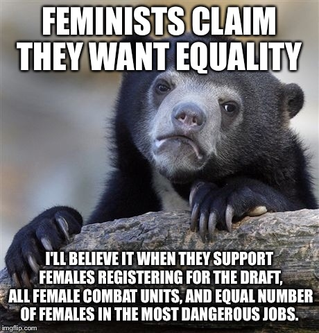 Confession Bear Meme | FEMINISTS CLAIM THEY WANT EQUALITY I'LL BELIEVE IT WHEN THEY SUPPORT FEMALES REGISTERING FOR THE DRAFT, ALL FEMALE COMBAT UNITS, AND EQUAL N | image tagged in memes,confession bear | made w/ Imgflip meme maker