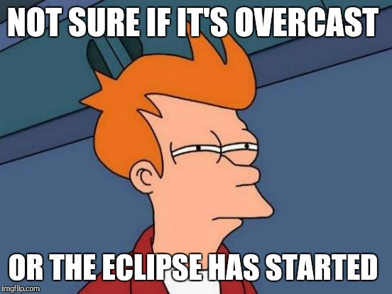 Futurama Fry Meme | NOT SURE IF IT'S OVERCAST OR THE ECLIPSE HAS STARTED | image tagged in memes,futurama fry | made w/ Imgflip meme maker