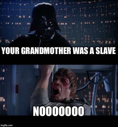 Star Wars No Meme | YOUR GRANDMOTHER WAS A SLAVE NOOOOOOO | image tagged in memes,star wars no | made w/ Imgflip meme maker