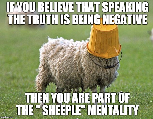"stupid sheep | IF YOU BELIEVE THAT SPEAKING THE TRUTH IS BEING NEGATIVE THEN YOU ARE PART OF THE "" SHEEPLE"" MENTALITY 