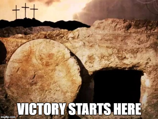 Victory | VICTORY STARTS HERE | image tagged in cross | made w/ Imgflip meme maker