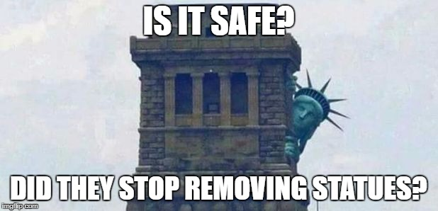 IS IT SAFE? DID THEY STOP REMOVING STATUES? | image tagged in statue of liberty hiding 2 | made w/ Imgflip meme maker