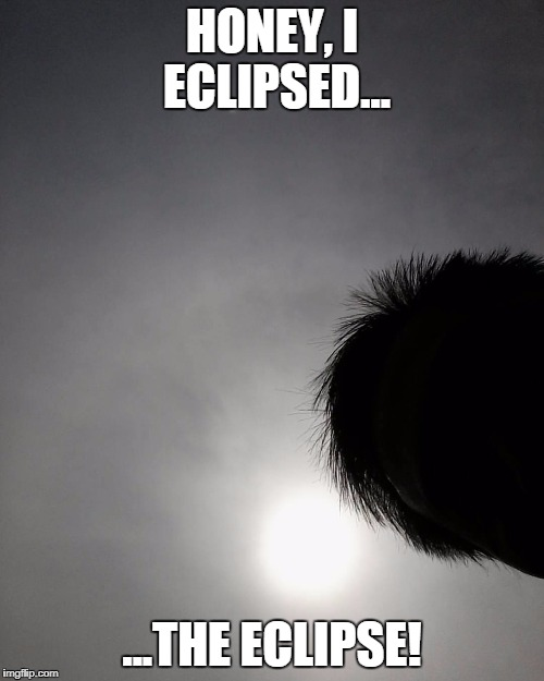 I Eclipsed the Eclipse in 2017! | HONEY, I ECLIPSED... ...THE ECLIPSE! | image tagged in solar eclipse,2017,silhouette,funny meme | made w/ Imgflip meme maker