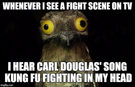 Weird Stuff I Do Potoo | WHENEVER I SEE A FIGHT SCENE ON TV I HEAR CARL DOUGLAS' SONG KUNG FU FIGHTING IN MY HEAD | image tagged in memes,weird stuff i do potoo | made w/ Imgflip meme maker