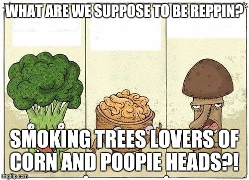 Two Veggies And A Nut | WHAT ARE WE SUPPOSE TO BE REPPIN? SMOKING TREES LOVERS OF CORN AND POOPIE HEADS?! | image tagged in two veggies and a nut | made w/ Imgflip meme maker