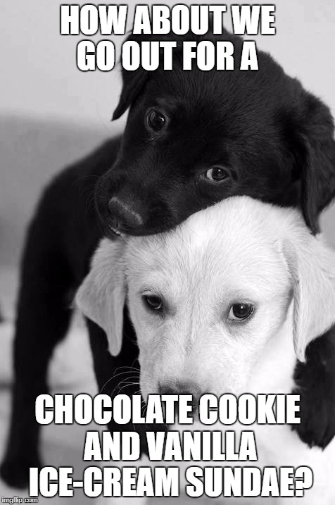 getting along | HOW ABOUT WE GO OUT FOR A CHOCOLATE COOKIE AND VANILLA ICE-CREAM SUNDAE? | image tagged in i love you | made w/ Imgflip meme maker