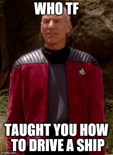 Go Navy! | WHO TF TAUGHT YOU HOW TO DRIVE A SHIP | image tagged in picard wtf 1 | made w/ Imgflip meme maker