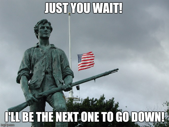 Minuteman statue | JUST YOU WAIT! I'LL BE THE NEXT ONE TO GO DOWN! | image tagged in minuteman statue | made w/ Imgflip meme maker