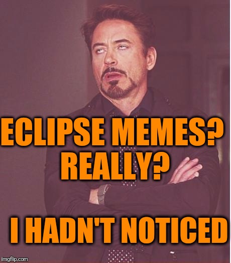 Face You Make Robert Downey Jr Meme | ECLIPSE MEMES? REALLY? I HADN'T NOTICED | image tagged in memes,face you make robert downey jr | made w/ Imgflip meme maker