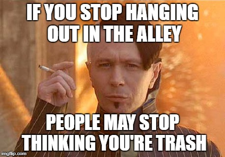 Zorg | IF YOU STOP HANGING OUT IN THE ALLEY PEOPLE MAY STOP THINKING YOU'RE TRASH | image tagged in memes,zorg | made w/ Imgflip meme maker