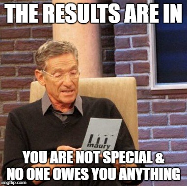 Maury Lie Detector Meme | THE RESULTS ARE IN YOU ARE NOT SPECIAL & NO ONE OWES YOU ANYTHING | image tagged in memes,maury lie detector | made w/ Imgflip meme maker