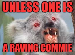Drop bears are real | UNLESS ONE IS A RAVING COMMIE | image tagged in drop bears are real | made w/ Imgflip meme maker