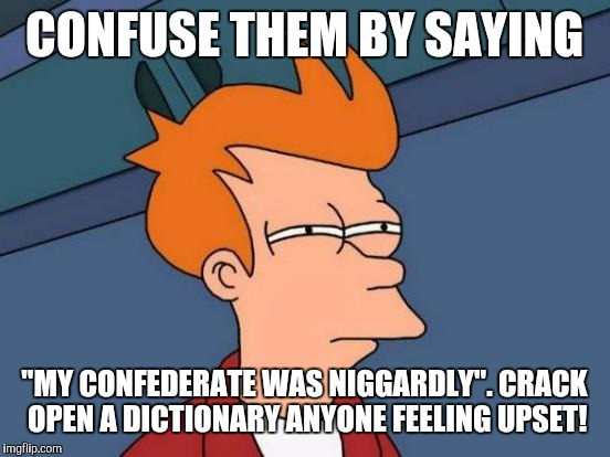 "Futurama Fry Meme | CONFUSE THEM BY SAYING ""MY CONFEDERATE WAS N**GARDLY"". CRACK OPEN A DICTIONARY ANYONE FEELING UPSET! 