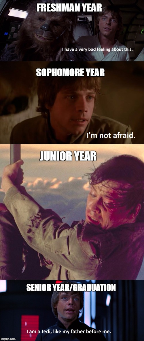 The Four Years of High School, as told by Luke Skywalker | FRESHMAN YEAR SENIOR YEAR/GRADUATION SOPHOMORE YEAR JUNIOR YEAR | image tagged in high school,teenager post,luke skywalker,star wars | made w/ Imgflip meme maker