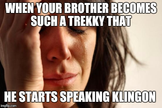 First World Problems Meme | WHEN YOUR BROTHER BECOMES SUCH A TREKKY THAT HE STARTS SPEAKING KLINGON | image tagged in memes,first world problems | made w/ Imgflip meme maker
