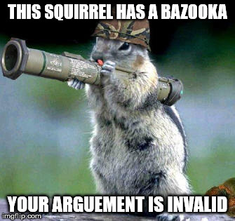 Bazooka Squirrel | THIS SQUIRREL HAS A BAZOOKA YOUR ARGUEMENT IS INVALID | image tagged in memes,bazooka squirrel | made w/ Imgflip meme maker
