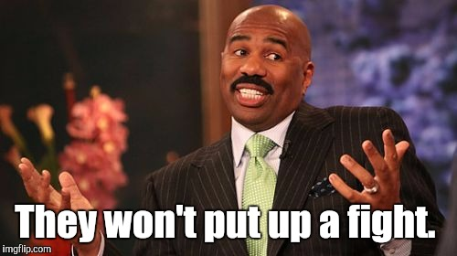Steve Harvey Meme | They won't put up a fight. | image tagged in memes,steve harvey | made w/ Imgflip meme maker