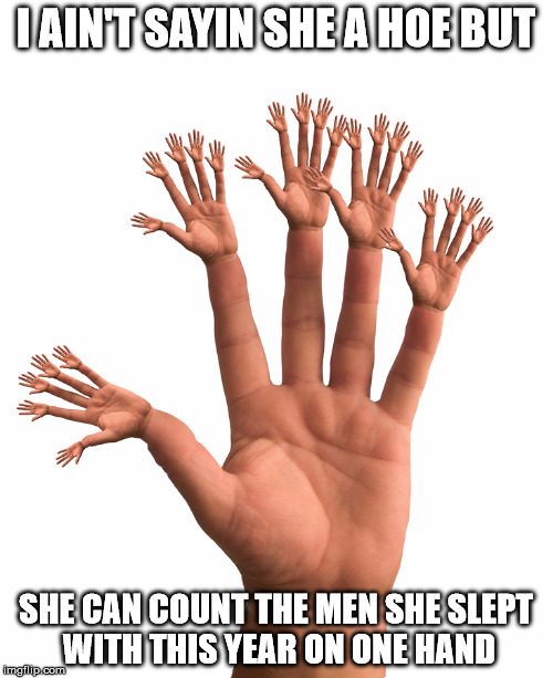 I AIN'T SAYIN SHE A HOE BUT SHE CAN COUNT THE MEN SHE SLEPT WITH THIS YEAR ON ONE HAND | made w/ Imgflip meme maker