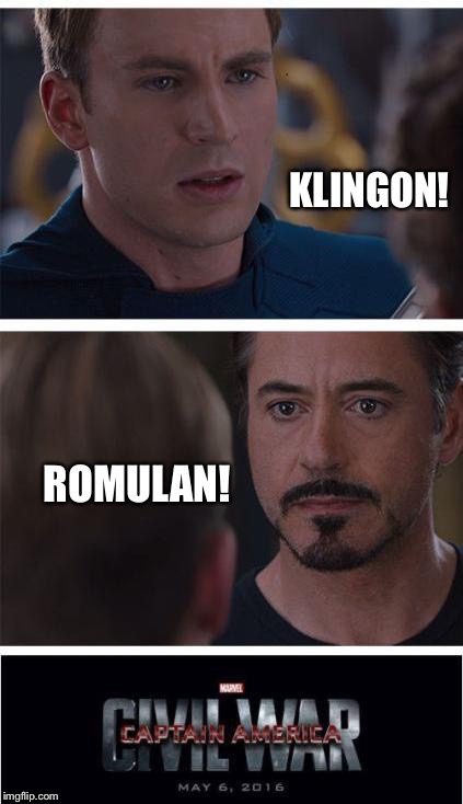 . | image tagged in memes,iron man,klingon,romulan,civil war | made w/ Imgflip meme maker