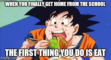Goku eating  | WHEN YOU FINALLY GET HOME FROM THE SCHOOL THE FIRST THING YOU DO IS EAT | image tagged in goku eating,anime,dragon ball z,goku | made w/ Imgflip meme maker