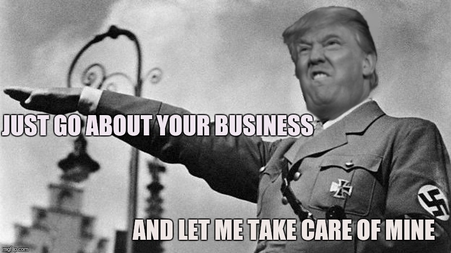 Donald Trump Hitler |  JUST GO ABOUT YOUR BUSINESS; AND LET ME TAKE CARE OF MINE | image tagged in donald trump hitler | made w/ Imgflip meme maker