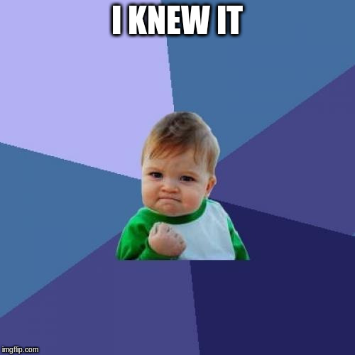 Success Kid Meme | I KNEW IT | image tagged in memes,success kid | made w/ Imgflip meme maker