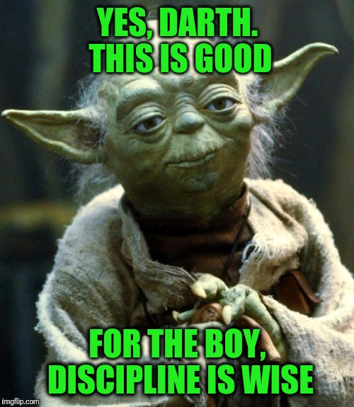 Star Wars Yoda Meme | YES, DARTH. THIS IS GOOD FOR THE BOY, DISCIPLINE IS WISE | image tagged in memes,star wars yoda | made w/ Imgflip meme maker