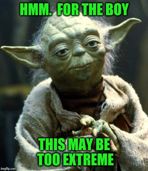 Star Wars Yoda Meme | HMM.  FOR THE BOY THIS MAY BE TOO EXTREME | image tagged in memes,star wars yoda | made w/ Imgflip meme maker