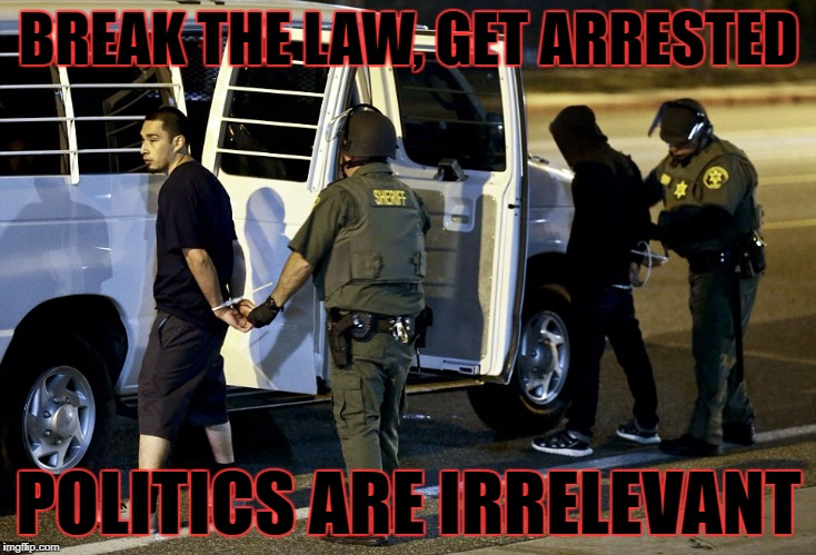 BREAK THE LAW, GET ARRESTED POLITICS ARE IRRELEVANT | made w/ Imgflip meme maker