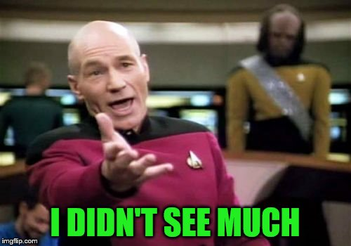 Picard Wtf Meme | I DIDN'T SEE MUCH | image tagged in memes,picard wtf | made w/ Imgflip meme maker