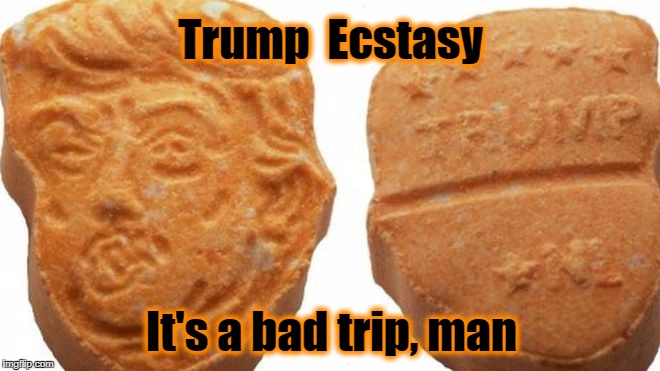 Trump is a Bad Trip | Trump  Ecstasy It's a bad trip, man | image tagged in trump,ecstasy | made w/ Imgflip meme maker
