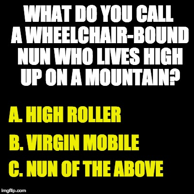 Blank | WHAT DO YOU CALL A WHEELCHAIR-BOUND NUN WHO LIVES HIGH UP ON A MOUNTAIN? A. HIGH ROLLER B. VIRGIN MOBILE C. NUN OF THE ABOVE | image tagged in blank | made w/ Imgflip meme maker