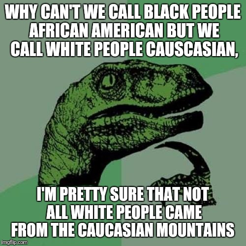 Philosoraptor Meme | WHY CAN'T WE CALL BLACK PEOPLE AFRICAN AMERICAN BUT WE CALL WHITE PEOPLE CAUSCASIAN, I'M PRETTY SURE THAT NOT ALL WHITE PEOPLE CAME FROM THE | image tagged in memes,philosoraptor | made w/ Imgflip meme maker