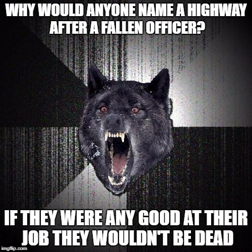 Insanity Wolf Meme | WHY WOULD ANYONE NAME A HIGHWAY AFTER A FALLEN OFFICER? IF THEY WERE ANY GOOD AT THEIR JOB THEY WOULDN'T BE DEAD | image tagged in memes,insanity wolf,AdviceAnimals | made w/ Imgflip meme maker
