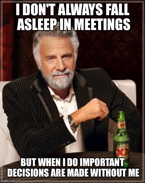 The Most Interesting Man In The World Meme | I DON'T ALWAYS FALL ASLEEP IN MEETINGS BUT WHEN I DO IMPORTANT DECISIONS ARE MADE WITHOUT ME | image tagged in memes,the most interesting man in the world | made w/ Imgflip meme maker