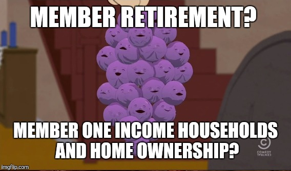 MEMBER RETIREMENT? MEMBER ONE INCOME HOUSEHOLDS AND HOME OWNERSHIP? | image tagged in member berries,memes | made w/ Imgflip meme maker