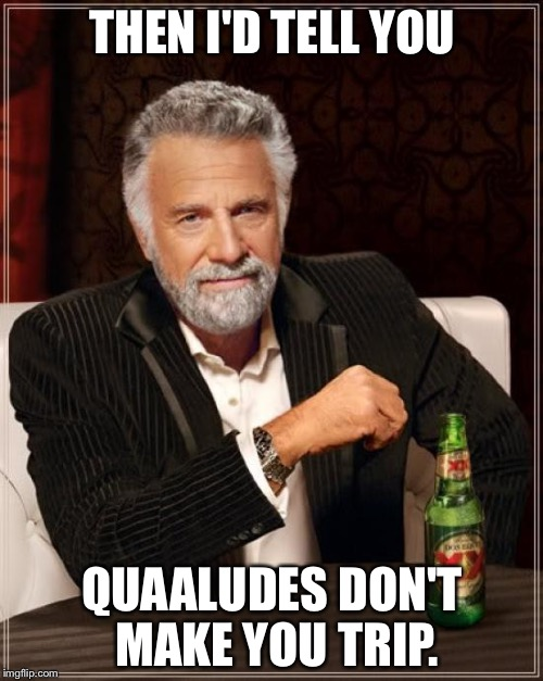 The Most Interesting Man In The World Meme | THEN I'D TELL YOU QUAALUDES DON'T MAKE YOU TRIP. | image tagged in memes,the most interesting man in the world | made w/ Imgflip meme maker