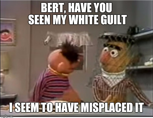 Bert, have you seen... | BERT, HAVE YOU SEEN MY WHITE GUILT I SEEM TO HAVE MISPLACED IT | image tagged in bert,have you seen | made w/ Imgflip meme maker