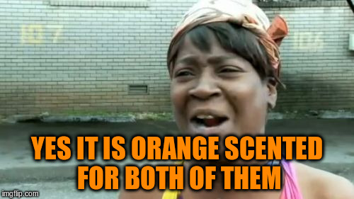 Aint Nobody Got Time For That Meme | YES IT IS ORANGE SCENTED FOR BOTH OF THEM | image tagged in memes,aint nobody got time for that | made w/ Imgflip meme maker