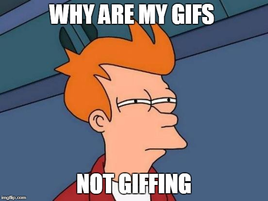 Futurama Fry Meme | WHY ARE MY GIFS NOT GIFFING | image tagged in memes,futurama fry | made w/ Imgflip meme maker