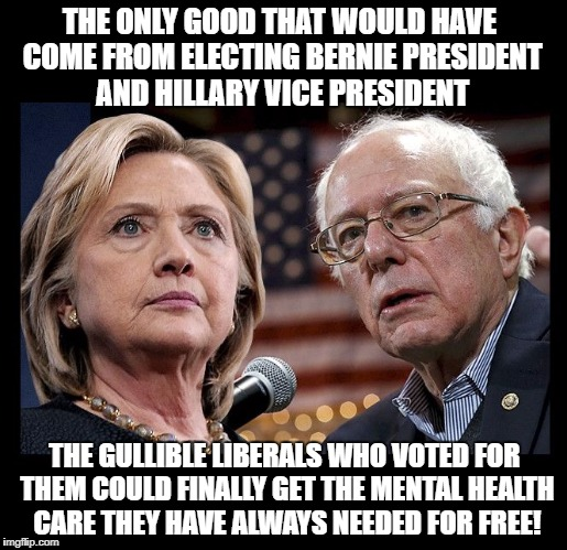 The Only good that would have come from electing Bernie President and Hillary Vice President The gullible Liberals who voted for | THE ONLY GOOD THAT WOULD HAVE COME FROM ELECTING BERNIE PRESIDENT AND HILLARY VICE PRESIDENT THE GULLIBLE LIBERALS WHO VOTED FOR THEM COULD  | image tagged in hillary and bernie,free,health care,elected,president | made w/ Imgflip meme maker