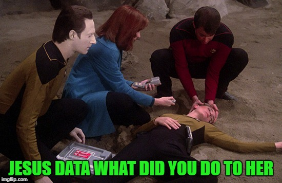 JESUS DATA WHAT DID YOU DO TO HER | made w/ Imgflip meme maker