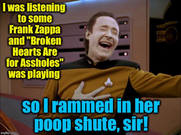 "I was listening to some Frank Zappa and ""Broken Hearts Are for Assholes"" was playing so I rammed in her poop shute, sir! 