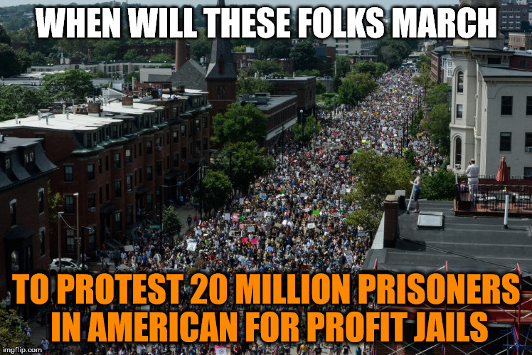 Protest for-profit prisons | WHEN WILL THESE FOLKS MARCH TO PROTEST 20 MILLION PRISONERS IN AMERICAN FOR PROFIT JAILS | image tagged in protesters,jail | made w/ Imgflip meme maker